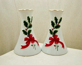 Holly Sprig Candle Holders, Christmas Table Decoration, Christmas Dinner Table