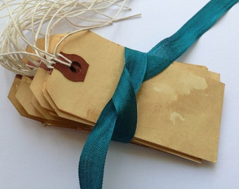 200 Medium Escort Card. Place Card. Vintage Wedding. Travel Theme. Save The Date. Paper Luggage Tag. Shabby Stained. Hang Tag. LIGHT