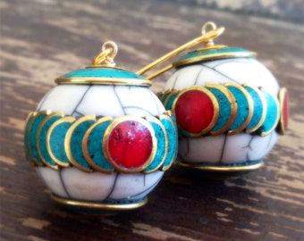Turquoise Earrings - Red Coral Jewellery - Tibetan Bead Jewellery - Tribal - Gold - Long