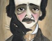 Edgar Allan Poe Literary Portrait, Black Cat Art, Victorian Writers Illustration (6x8) Goth Art