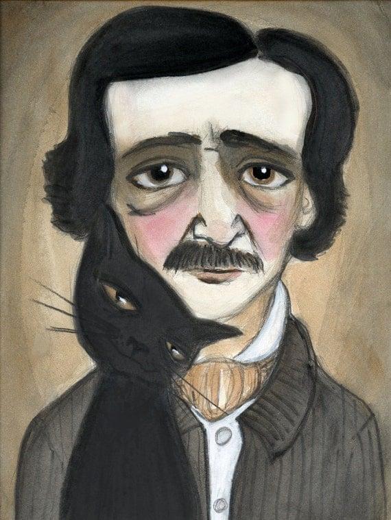Edgar Allan Poe Literary Portrait, Black Cat Art, Victorian Writers Illustration (6x8) 19th Century Goth Art, Macabre Illustration