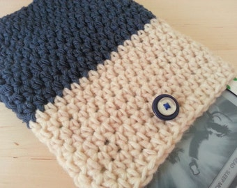 Crocheted eBook Cover in Blue & Cream