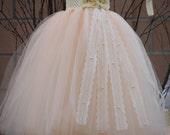 Flower Girl TuTu Dress. Peach with Pearls TuTu Dress, ivory tutu.Wedding . Birthday. Bridesmaid.Children.Toddler.Dress.Clothing