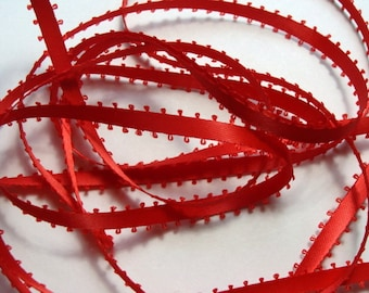 "3/16"" Feather Edge Satin Ribbon - Red - 10 yds"