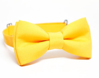 Bright yellow Bow Tie for Boys, Toddlers, Baby - pre tied bowtie, wedding, photo prop