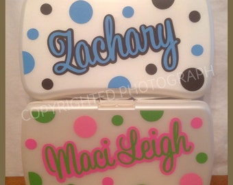 Personalized BABY WIPES CASE White Plastic Refillable with Name Polka Dots Travel Diaper Bag Case Baby Shower Gift