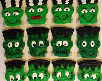 Frankenstein Halloween sugar cookies