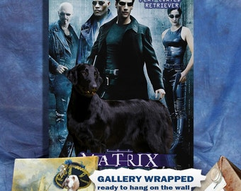 Flat Coated Retriever Art Vintage Poster Movie Style Canvas Print  - Matrix Movie Poster NEW Collection by Nobility Dogs