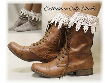 BOOT BLISS Oatmeal Lace Socks lace boot socks boot socks combat boot socks  womens boot socks cowboy boots Catherine Cole Studio SLXC2L