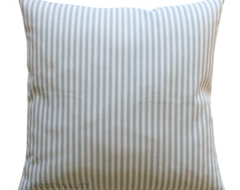Ticking Stripe Pillow Cover, Magnolia Polo Stripe Sail Blue Cushion Cover, Choose Size, Zippered Pillow, Throw Pillows, Blue Pillow Case