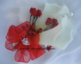 Set of (2) pieces. 2 corsages or Calla PROM CORSAGE and Boutonniere or 2 boutonnieres. Red White Real Touch Cala Bridal Beach Wedding Lilies