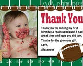 Football Thank You Card Red Photo Option - Customizable Printable