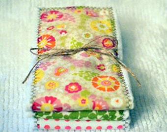 Baby Burp Cloth Set - Baby Set Burp Cloths Yellow Pink Orange Green Floral, Pink Orange Polka Dot, Green Leaf Pattern (Set of 3)
