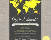 elope announcement and reception invitation -  hearts and map - diy printable file by YellowBrickStudio