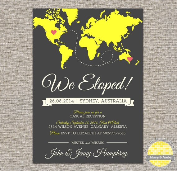 Reception Invitation Wording After Destination Wedding: Elope Announcement And Reception Invitation Hearts And Map