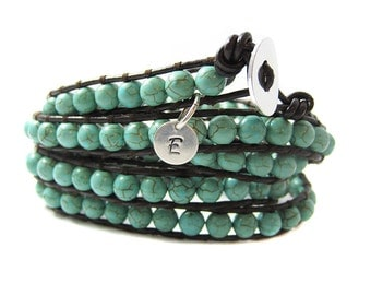Turquoise Gemstone Wrap Bracelet - Personalized Initial Charm