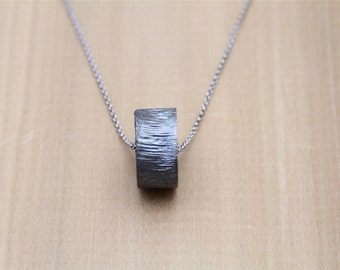 Minimalist Necklace Blackened Steel Pendant Contemporary Rustic Minimalist Jewelry
