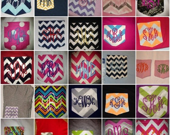 Monogram V-Neck Pocket Shirt.. many different options available.. customize your own
