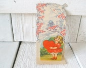 Vintage valentine card girl dove fold out 1930s