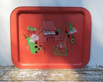 Marcelline Stoyke Design Tray BBQ Tray PInk and Green Metal Tray Mid Century Decor Gift for Dad Fathers Day Gift