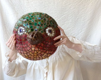 Picassiette Bird Mask in peach and green,  outdoor or indoor mosaic wall hanging