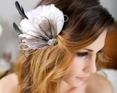 Grey Headpiece, Bridal Hair Accessories, Ivory, Gray Hair Clip, Gray Peacock Feather Hair Clip, Fascinator, Wedding Hair Clip, Hair Piece