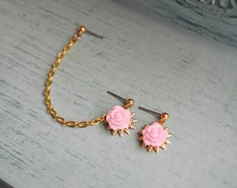 Sweet Pink Rose Double Pierce Cartilage Earrings (Pair)