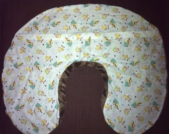 Boppy Nursing Pillow Cover with Zipper Closure Boys Toys/Blue or Brown Minky