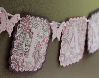 Butterflies and Paisley First Birthday Banner, High Chair Banner, paisley birthday, butterfly birthday, first birthday, 1st birthday