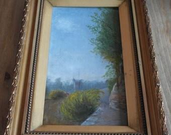 antique un signed origenal oil painting in guilt frame