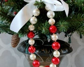 Christmas Pearls Chunky Bead Necklace Holiday Soft Baby Girl Photo Prop MADE TO ORDER