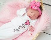 Baby Gown Name Chevron & Polka Dot Embroidered Applique - White Shirt 100% Cotton - MADE TO ORDER