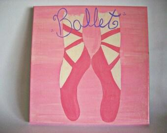 Little Girls Room Decor, Ballet Decor, Ballet Canvas Art, Ballet Painting, Little Girls Wall Art, Ballet Decor, Girls Wall Art, 12x12 Canvas