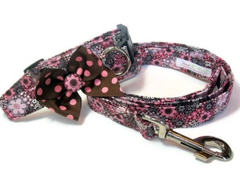 Pink and Brown Floral Dog Leash Collar Set size Medium