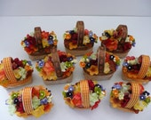 CUSTOM ORDER - RESERVED for Nicol, 10 mini fall floral favor baskets