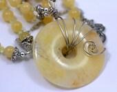 Elegant Honey Jade Double Stranded Necklace