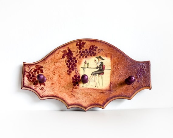 Wall Hanger - The Lady in the Bistro - Burgundy Wine, grapes and french woman, Bordeaux Red and Cream, home decor