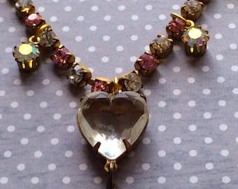 Swarovski Necklace, Vintage Necklace, Swarovski Chain Necklace, Pink Heart Necklace, Estate Style Necklace, Old Hollywood Style, Crystal