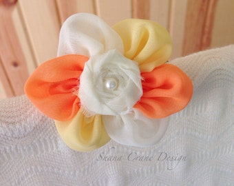 Candy Corn . Headband . Chiffon Flower with Rosette Center . Cream, Yellow, and Orange