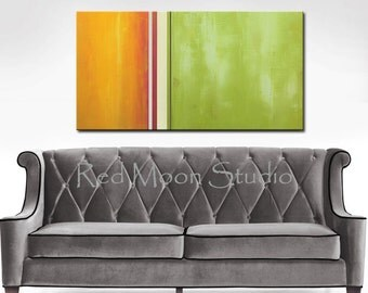 Abstract Art Abstract Painting, Large 48x24 - Green, Gold, Rust, Orange original painting