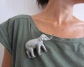 Plastic Animal Statement Grey Elephant Brooch  OOAK