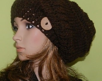 Slouchy HIPPIE Hat, Women/Teen Slouchy Chunky Big Beanie, Boho Cap with the Eco button, Big Hippie Beanie Wool/Acrylic - in WALNUT
