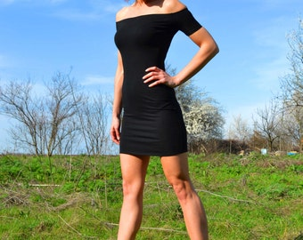 LITTLE BLACK DRESS LBd Mini Dress Off The Shoulder Short Sleeve Sexy Stretchy Tight Night Out Mini Party Dress Little Black Dresses