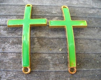 2 Green Cross Connectors Gold with Green Enamel Curved Cross 47mm