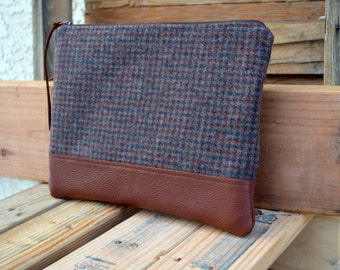 Wool and Leather Clutch- Recycled Wool- Ready to Ship