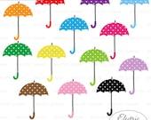 Umbrella Clipart - Rainy Day Clipart Polka Dot Umbrellas