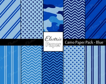 Blue Camo Paper Pack - Camouflage and Coordinating Prints Printable Paper - Instant download - Blue