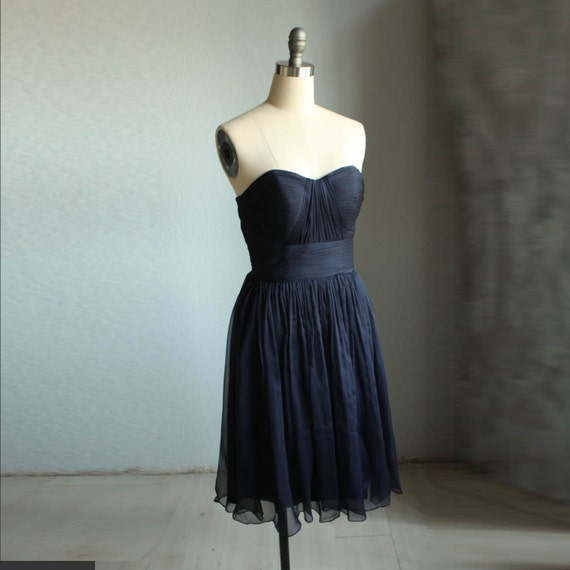 Bridesmaid Dress/  /sweetheart strapless /NAVY BLUE /dresses /Fairy / Dreamy / Bridesmaid / Party / wedding / Bride (B013)