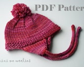 """DIGITAL KNITTING PATTERN Cocoa Sipping Cap, Earflap Doll Hat for 15"""" 16"""" 18"""" Waldorf Dolls American Girl Dolls"""