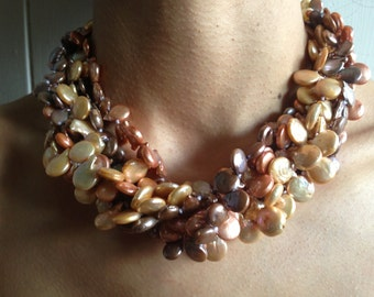 Fabulous custom multistrand blister pearl necklace - Statement piece